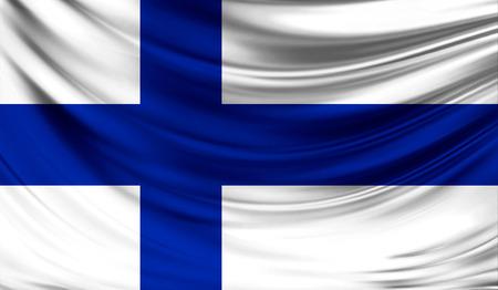 ファブリックの波状の表面でフィンランドの現実的なフラグは。デザインでこのフラグを使用することができます。 写真素材