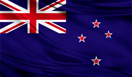 Realistic flag of New Zealand on the wavy surface of fabric. This flag can be used in design
