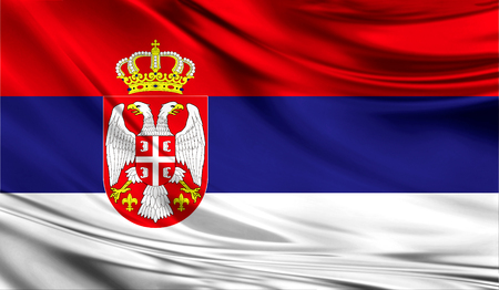 Realistic flag of Serbia on the wavy surface of fabric. This flag can be used in design Banco de Imagens