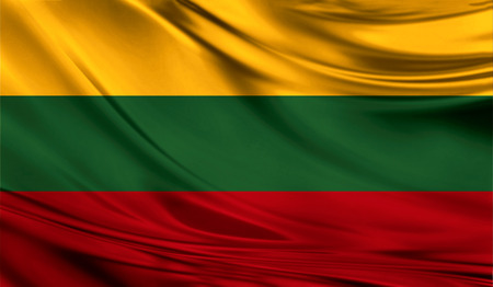 Realistic flag of Lithuania on the wavy surface of fabric. This flag can be used in design