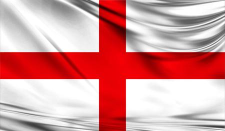 Realistische Flagge von England auf der gewellten Oberfläche des Gewebes. Diese Flagge kann im Design verwendet werden Standard-Bild