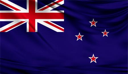 패브릭 물결 모양의 표면에 뉴질랜드의 현실적인 플래그. 이 플래그는 디자인에서 사용할 수 있습니다.