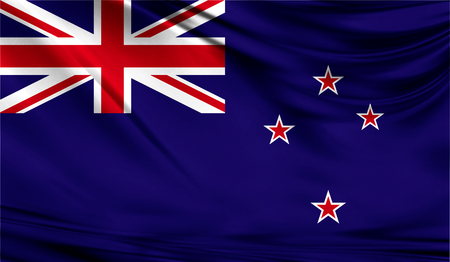 Realistische vlag van Nieuw-Zeeland op het golvende oppervlak van de stof. Deze vlag kan worden gebruikt in ontwerp