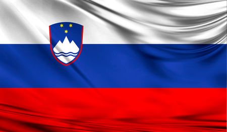 Realistic flag of Slovenia on the wavy surface of fabric. This flag can be used in design Imagens - 83826720
