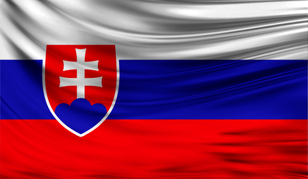 Realistic flag of Slovakia on the wavy surface of fabric. This flag can be used in design