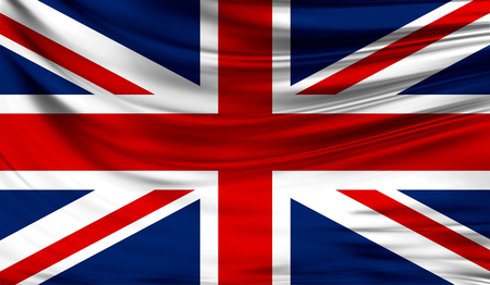 Realistic flag of United Kingdom on the wavy surface of fabric. This flag can be used in design
