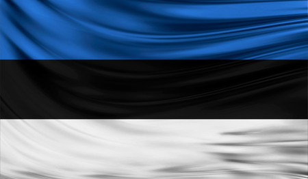 flyaway: Realistic flag of Estonia on the wavy surface of fabric. This flag can be used in design Stock Photo