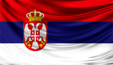 Realistic flag of Serbia on the wavy surface of fabric. This flag can be used in design Stock Photo