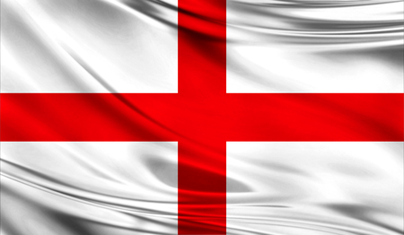 Realistic flag of England on the wavy surface of fabric. This flag can be used in design
