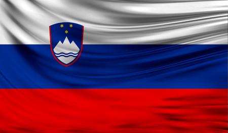 ファブリックの波状の表面でスロベニアの現実的なフラグは。デザインでこのフラグを使用することができます。