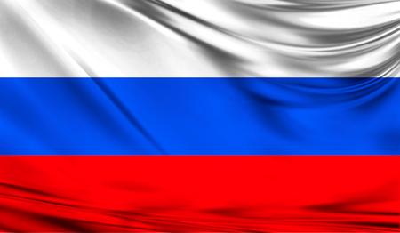 ファブリックの波状の表面でロシアの現実的なフラグは。デザインでこのフラグを使用することができます。 写真素材