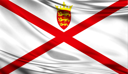 Realistic flag of Jersey on the wavy surface of fabric. This flag can be used in design