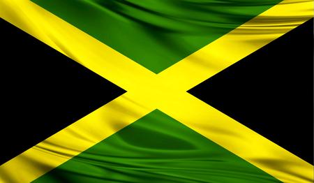 ファブリックの波状の表面でジャマイカの現実的なフラグは。デザインでこのフラグを使用することができます。 写真素材