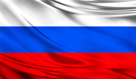 europe closeup: Realistic flag of Russia on the wavy surface of fabric. This flag can be used in design Stock Photo
