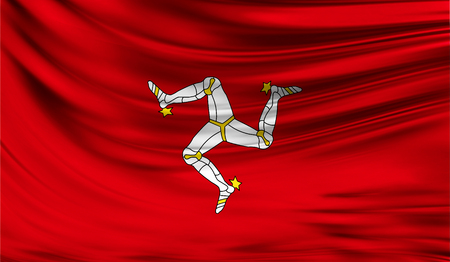 Realistic flag of Isle Of Man on the wavy surface of fabric. This flag can be used in design