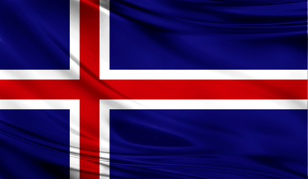 europe closeup: Realistic flag of Iceland on the wavy surface of fabric. Stock Photo