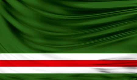 Realistic flag of Chechen Republic of Ichkeria on the wavy surface of fabric. Stock Photo