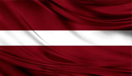 europe closeup: Realistic flag of Latvia on the wavy surface of fabric.