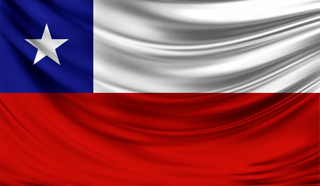 bandera chilena: Bandera realista de Chile en la superficie ondulada de la tela.