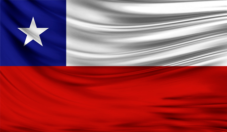 Realistic flag of Chile on the wavy surface of fabric. Stock Photo