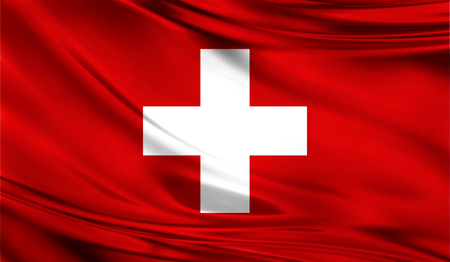 europe closeup: Realistic flag of Switzerland on the wavy surface of fabric. Stock Photo