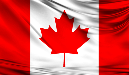 Realistic flag of Canada on the wavy surface of fabric.