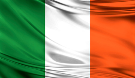 ulster: Realistic flag of Ireland on the wavy surface of fabric.