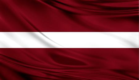 패브릭의 물결 모양의 표면에 라트비아의 현실적인 국기.