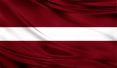 Realistic flag of Latvia on the wavy surface of fabric.