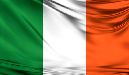 eire: Realistic flag of Ireland on the wavy surface of fabric.