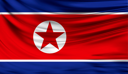 vs: Realistic flag of North Korea on the wavy surface of fabric.