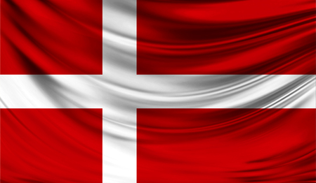 Realistic flag of Denmark on the wavy surface of fabric.