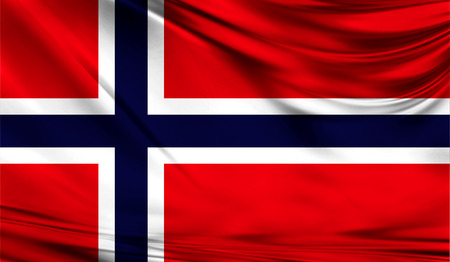 Realistic flag of Norway on the wavy surface of fabric. Stock Photo