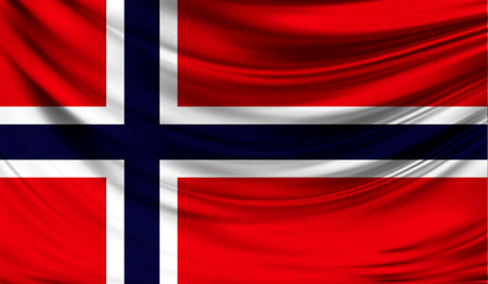 europe closeup: Realistic flag of Norway on the wavy surface of fabric. Stock Photo