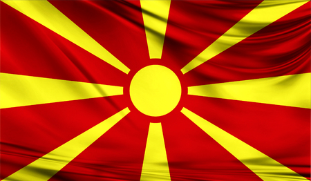 europe closeup: Realistic flag of Macedonia on the wavy surface of fabric.
