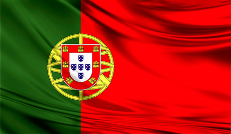 Realistic flag of Portugal on the wavy surface of fabric.
