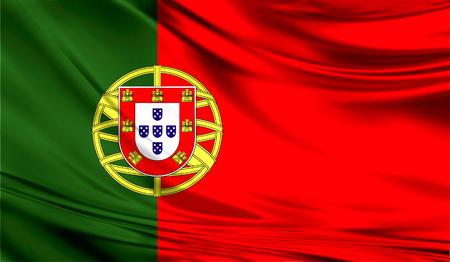 Realistische vlag van Portugal op het golvende oppervlak van de stof.