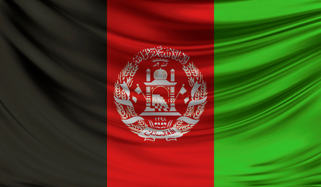 old pc: Realistic flag of Afghanistan on the wavy surface of fabric. Stock Photo