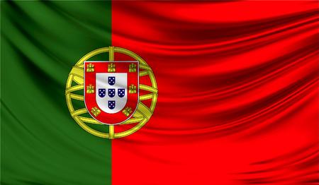 drapeau portugal: Drapeau réaliste du Portugal sur la surface ondulée du tissu.
