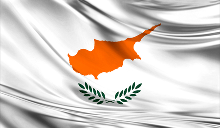Realistic flag of Cyprus on the wavy surface of fabric.