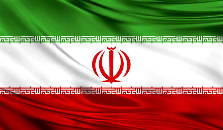 Realistic flag of Iran on the wavy surface of fabric.