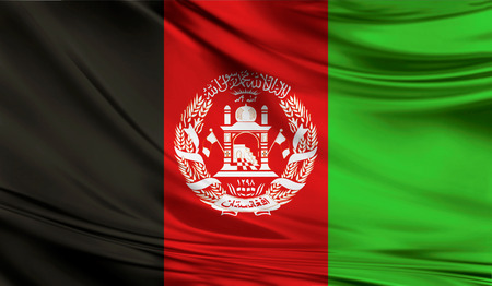 Realistic flag of Afghanistan on the wavy surface of fabric. Stock Photo