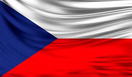 Realistic flag of Czech Republic on the wavy surface of fabric.