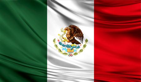 직물의 물결 모양의 표면에 멕시코의 현실적인 플래그.