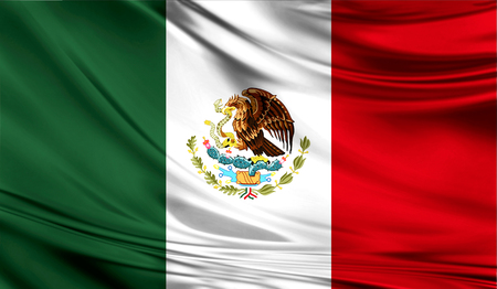 Realistic flag of Mexico on the wavy surface of fabric.