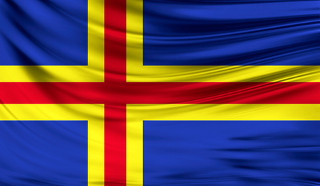 Realistic flag of Aland on the wavy surface of fabric.