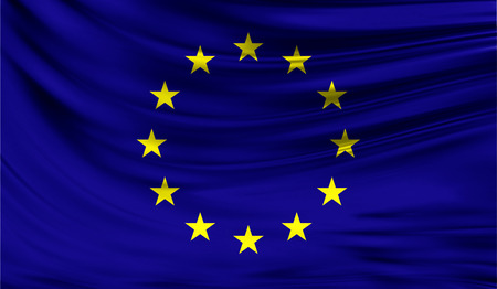 Realistic flag of European Union on the wavy surface of fabric.