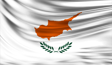 europe closeup: Realistic flag of Cyprus on the wavy surface of fabric.