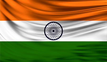 Realistic flag of India on the wavy surface of fabric.