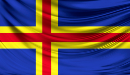 europe closeup: Realistic flag of Aland on the wavy surface of fabric.